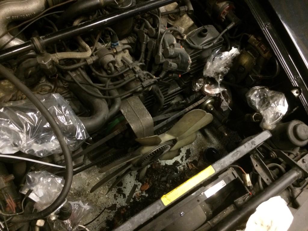 Der er god plads til at renovere ved servoen nu hvor køleren alligevel er ude.